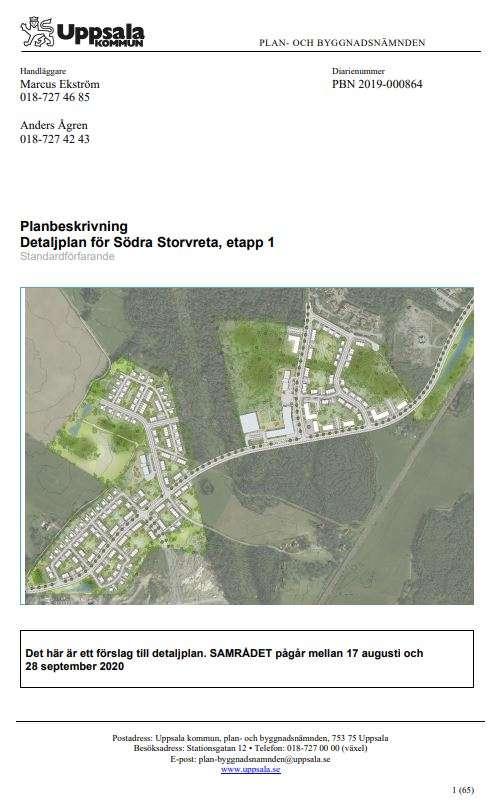 Skärmdump på detaljplan för Södra Storvreta etapp 1