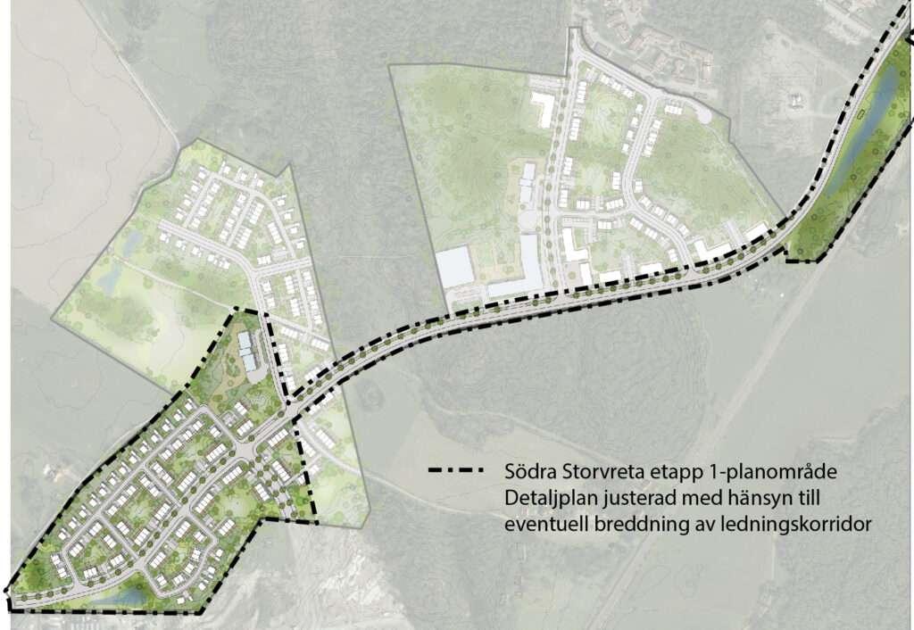 Skärmdump på korrigerad detaljplan för Södra Storvreta etapp 1